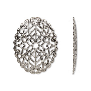 focal, antique silver-plated brass, 30x23mm fancy oval with cutout design. sold per pkg of 6.