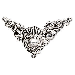 focal, antique silver-plated pewter (zinc-based alloy), 2-3/4 x 2 x 2-inch single-sided fancy y-connector with swirls and lines design with 3 loops. sold per pkg of 2.