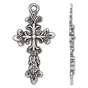 focal, antique silver-plated pewter (zinc-based alloy), 43x25mm single-sided cross. sold per pkg of 500.