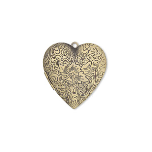 focal, antiqued brass, 42x40mm double-sided heart locket with stamped flower and scroll design. sold individually.