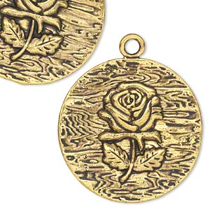 focal, antiqued gold-finished pewter (zinc-based alloy), 38.5mm flat round with rose. sold per pkg of 4.