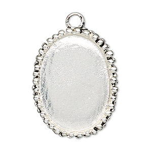 focal, antiqued silver-finished pewter (zinc-based alloy), 34x27mm oval with beaded design and 30x22mm non-calibrated oval setting. sold individually.