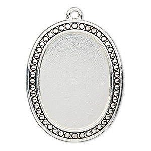 focal, antiqued silver-finished pewter (zinc-based alloy), 38x31mm oval with beaded design and 30x22mm non-calibrated oval setting. sold individually.
