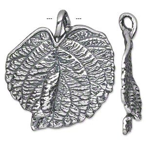 focal, antiqued silver-plated pewter (tin-based alloy), 40x36mm single-sided textured leaf. sold individually.