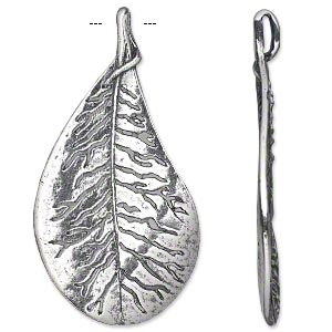 focal, antiqued silver-plated pewter (tin-based alloy), 56x29mm single-sided textured leaf with cutout veining. sold individually.