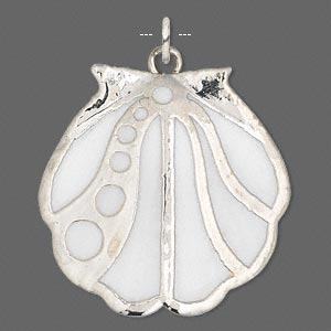 focal, asian moon scallop shell (natural) and silver-plated copper, white, 35x34mm-36x34mm, mohs hardness 3-1/2. sold individually.