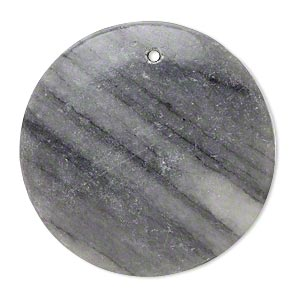 focal, black and grey marble (natural), 39-41mm puffed flat round with flat back, c grade, mohs hardness 3. sold individually. minimum 2 per order.