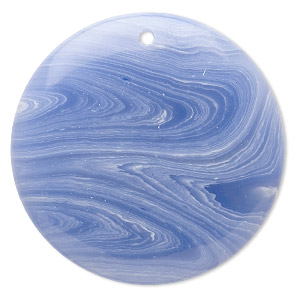 focal, blue lace agate (imitation), blue and white, 40mm top-drilled flat round. sold individually.