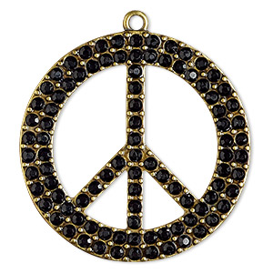 focal, blue moon beads, acrylic rhinestone and antiqued brass-finished pewter (zinc-based alloy), black, 44mm peace sign. sold individually.