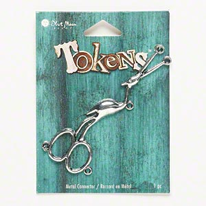 focal, blue moon beads, antiqued silver-finished pewter (zinc-based alloy), 3-1/4x1 inch stork scissors with 5 loops. sold individually.