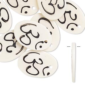 focal, bone (bleached), white and black, 30x20mm hand-carved single-sided oval with om symbol, mohs hardness 2-1/2. sold per pkg of 8.