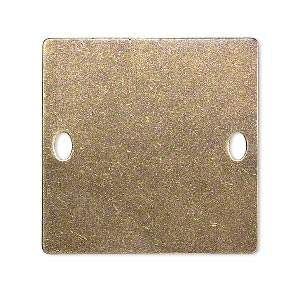 focal, brass, 32x32mm double-sided flat square blank with (2) 4x2mm holes. sold per pkg of 4.