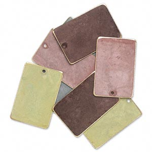focal, brass, assorted earth-tone patina, assorted pantone colors, 30x20mm double-sided rectangle. sold per pkg of 8.