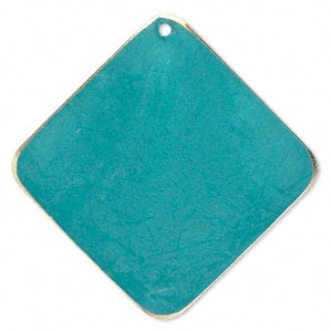 focal, brass, bright teal patina, pantone color 17-4818, 40x40mm double-sided diamond. sold per pkg of 6.