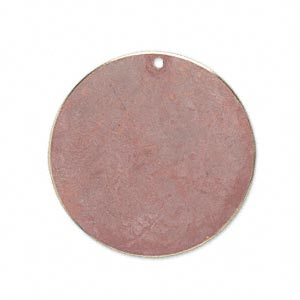 focal, brass, earth tone rust patina, pantone color 17-1516, 30mm double-sided flat round. sold per pkg of 6.