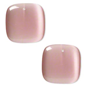 focal, cats eye glass, light pink, 34x34mm top-drilled square. sold per pkg of 2.
