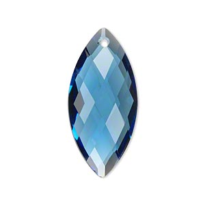 focal, celestial crystal, blue, 32x15mm hand-cut faceted marquise. sold individually.