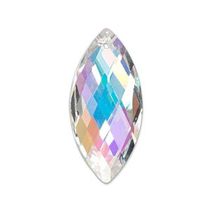 focal, celestial crystal, clear ab, 32x15mm double-sided faceted marquise. sold individually.