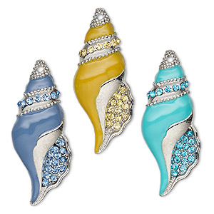 focal, charmed, glass rhinestone / enamel / imitation rhodium-finished pewter (zinc-based alloy), blue / yellow / turquoise blue, 43x17mm single-sided shell. sold per 3-piece set.