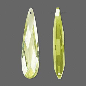 focal, cubic zirconia, peridot green, 36x9mm faceted teardrop, mohs hardness 8-1/2. sold per pkg of 2.