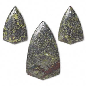 focal, dragon blood jasper (natural), (1) 50x27mm and (2) 33x21mm top-drilled shield, b grade, mohs hardness 6-1/2 to 7. sold per 3-piece set.