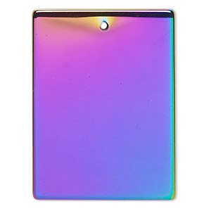focal, electroplated hemalyke™ (man-made), rainbow, 40x30mm flat rectangle. sold individually.