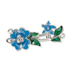 focal, enamel / swarovski crystals / silver-plated pewter (zinc-based alloy), blue / green / crystal clear, 33x14mm single-sided y-connector with flower and leaves. sold individually.