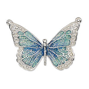 focal, enamel and imitation rhodium-plated pewter (zinc-based alloy), blue and green with glitter, 35x25mm single-sided butterfly. sold individually.
