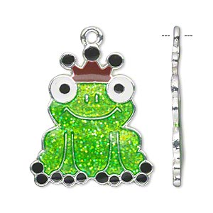 focal, enamel and silver-finished pewter (zinc-based alloy), multicolored with glitter, 30x25mm single-sided frog with crown. sold per pkg of 2.