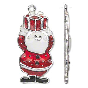focal, enamel and silver-finished pewter (zinc-based alloy), white / red / black, 43x22mm single-sided santa with package. sold per pkg of 2.
