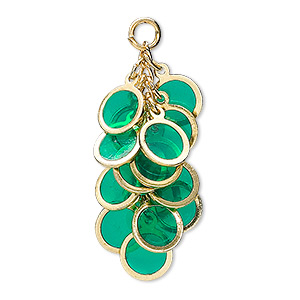 focal, epoxy and gold-plated brass, dark green, 32x16mm round cluster. sold per pkg of 4.
