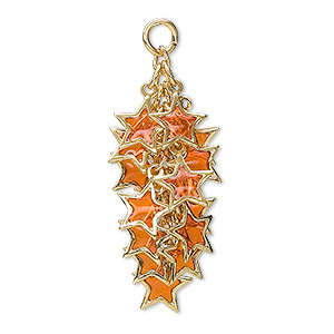 focal, epoxy and gold-plated brass, orange, 32x16mm star cluster. sold per pkg of 4.