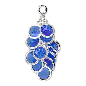 focal, epoxy and silver-plated brass, blue, 32x16mm round cluster. sold per pkg of 4.