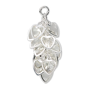 focal, epoxy and silver-plated brass, clear, 32x16mm heart cluster. sold per pkg of 4.
