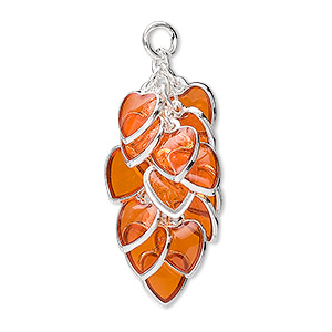 focal, epoxy and silver-plated brass, orange, 32x16mm heart cluster. sold per pkg of 4.