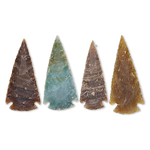 focal, fancy jasper (natural), 2x1-1/4 to 2-1/2 x 1-1/2 inch hand-knapped arrowhead, b- grade, mohs hardness 6-1/2 to 7. sold per pkg of 4.