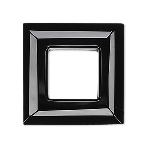 focal, glass, black, 30x30mm faceted open square. sold individually.