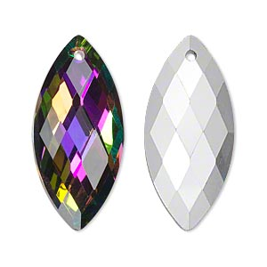 focal, glass, clear vitrail with silver-foil back, 32x15mm double-sided faceted marquise. sold individually.