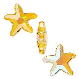 focal, glass, gold ab, 31x31mm and 42x40mm faceted starfish. sold per pkg of 3.