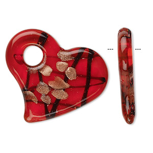 focal, glass, red, 50x45mm flat heart. sold individually.