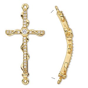 focal, glass rhinestone and gold-finished brass, clear, 37x20mm single-sided curved cross with wrapped design. sold individually.