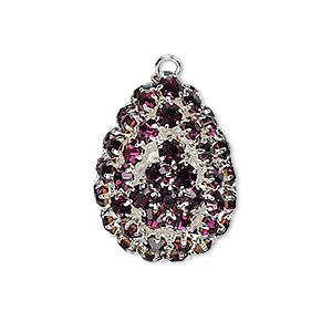 focal, glass rhinestone and silver-plated brass, purple, 30x22mm double-sided teardrop with 4mm chatons. sold individually.