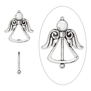 focal, glass rhinestone with antique silver-finished brass and pewter (zinc-based alloy), clear, 44.5x44.5mm single-sided angel with twist-off top, 24mm beadable length. sold individually.