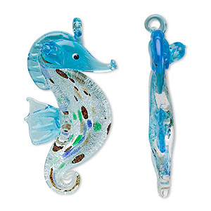focal, glass, sea blue foil, 58x30mm seahorse. sold individually.