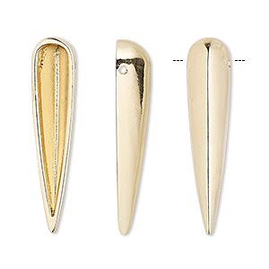 focal, gold-finished pewter (zinc-based alloy), 32x7mm single-sided hollow spike. sold per pkg of 6.