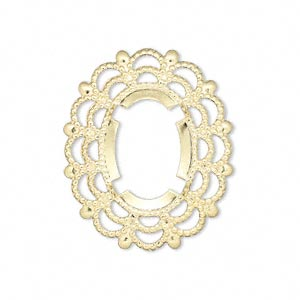 focal, gold-plated brass, 30x25mm oval with 18x13mm oval setting. sold per pkg of 12.