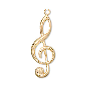 focal, gold-plated brass, 31x12mm treble clef. sold per pkg of 50.