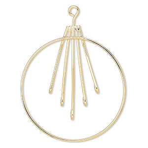 focal, gold-plated brass, 44mm with 40mm hoop and bars with 5 loops. sold per pkg of 10.