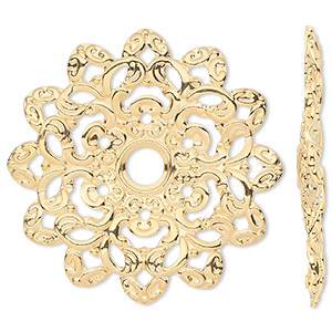 focal, gold-plated steel, 46x46mm single-sided wavy flower. sold per pkg of 6.