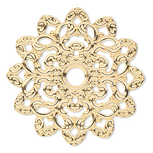 focal, gold-plated steel, 47x47mm single-sided fancy flower. sold per pkg of 6.